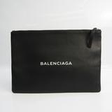 Balenciaga Shopping Clip M485110 Women's Leather Clutch Bag Black