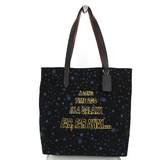 Coach Star Wars F88038 Unisex Canvas,Leather Tote Bag Black,Blue,Brown