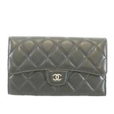 Auth Chanel Matelasse Tri-fold Wallet Women's  Lambskin Long Wallet Black