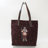 Coach Star Wars Starry Print F88039 Unisex Canvas,Leather Tote Bag Bordeaux,Brown,Red Color