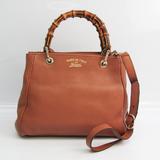 Gucci 336032 Bamboo Shopper Medium Women's Leather Handbag Brown