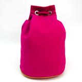 Hermes Polochon Mimil PM Unisex Cotton Canvas,Leather Shoulder Bag Pink,Red Color