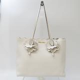 Miu Miu Flower 5BG054 Women's Leather Tote Bag White