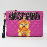 Moschino Bear 7B8405 Women's Leather,Nylon Clutch Bag Black,Pink,Yellow
