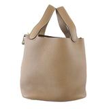 Auth Hermes Picotan Lock PM T Engraved Women's Taurillon Clemence Leather Handbag Etoupe Gray