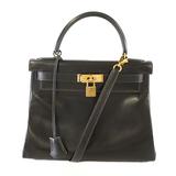 Auth  Hermes Kelly 2way Bag Kelly 28 〇 R Engraved Women's Box Calf Leather Handbag,Shoulder Bag Black