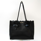 Miu Miu Flower 5BG054 Women's Leather Tote Bag Black
