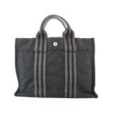 Auth  Hermes Fourre Tout Women's Canvas Handbag,Tote Bag Black