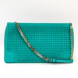 Christian Louboutin LOUBIPOSH Women's Leather Studded Clutch Bag,Shoulder Bag Emerald Green