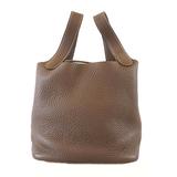 Auth Hermes Picotan Lock PM □ P Engraved Women's Taurillon Leather Handbag Taupe