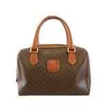 Auth Celine Macadam Women's PVC Boston Bag,Handbag Brown