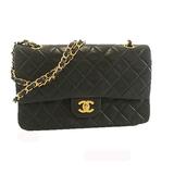 Auth  Chanel Matelasse W Flap W Chain Women's Shoulder Bag Black