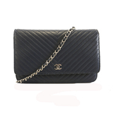 Auth  Chanel Chain Wallet V Stitch Women's  Caviar Leather Chain/Shoulder Wallet Navy