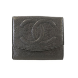 Auth Chanel Bi-fold Wallet Women's Caviar Leather Wallet (bi-fold) Black