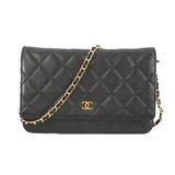Auth Chanel Matelasse Chain Wallet Women's  Caviar Leather Chain/Shoulder Wallet Black
