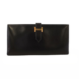 Auth Hermes Bearn Bi-fold Wallet T Engraved Women's  Box Calf Leather Long Wallet (bi-fold) Black