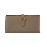Auth Hermes Bearn Bi-fold Wallet X Engraved Women's  Epsom Leather Long Wallet (bi-fold) Etoupe Gray
