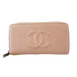 Auth Chanel Bi-fold Wallet Caviar Skin Women's Caviar Leather Long Wallet (bi-fold) Pink