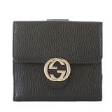Auth Gucci Interlocking G 615525 Women's Leather Long Wallet (bi-fold) Black