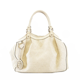 Auth Gucci Sukey Tote Bag 211944 Women's Straw Tote Bag Ivory