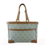 Auth Salvatore Ferragamo Gancini  Tote Bag Women's Canvas Tote Bag Blue,Brown