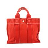 Auth Hermes Deauville Deauville PM Women's Canvas Handbag,Tote Bag Red Color