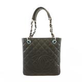Auth Chanel Matelasse Chain Tote Bag Women's Caviar Leather Tote Bag Black
