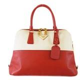 Auth Prada Saffiano Handbag Women's Leather Ivory,Red Color