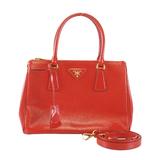 Auth  Prada 2WAY Bag Galleria Women's Leather Handbag,Shoulder Bag Red Color