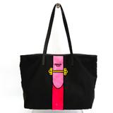 Prada Unisex Nylon Canvas,Leather Tote Bag Nero,Pink