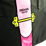 プラダ(Prada) ユニセックス ナイロンキャンバス,レザー トートバッグ Nero(ネロ),ピンク