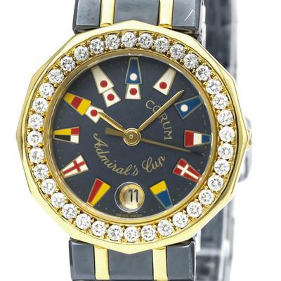 CORUM Admirals Cup Diamond 18K Gold Steel Watch 39.912.33