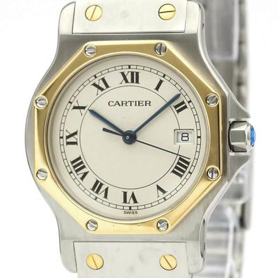 Cartier Santos Octagon Quartz Stainless Steel,Yellow Gold (18K) Women's Dress Watch 187902