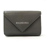 Balenciaga Paper Mini Wallet 391446 Unisex Leather Wallet (tri-fold) Gray