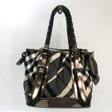 Burberry Nova Check Women's Leather,Nylon Handbag Black,Bronze,Gray,Off-white