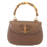 Auth Gucci Bamboo Handbag Women's Leather Brown 000 926 0633
