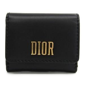 クリスチャン・ディオール(Christian Dior) D-FENCE LOTUS レディース  カーフスキン 財布(三つ折り) ブラック