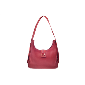 Hermes Sako Taurillon Clemence Leather Shoulder Bag Red,Rouge H