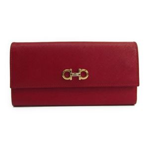 Salvatore Ferragamo Gancini 22-B002 Women's  Embossed Leather Long Wallet (bi-fold) Red