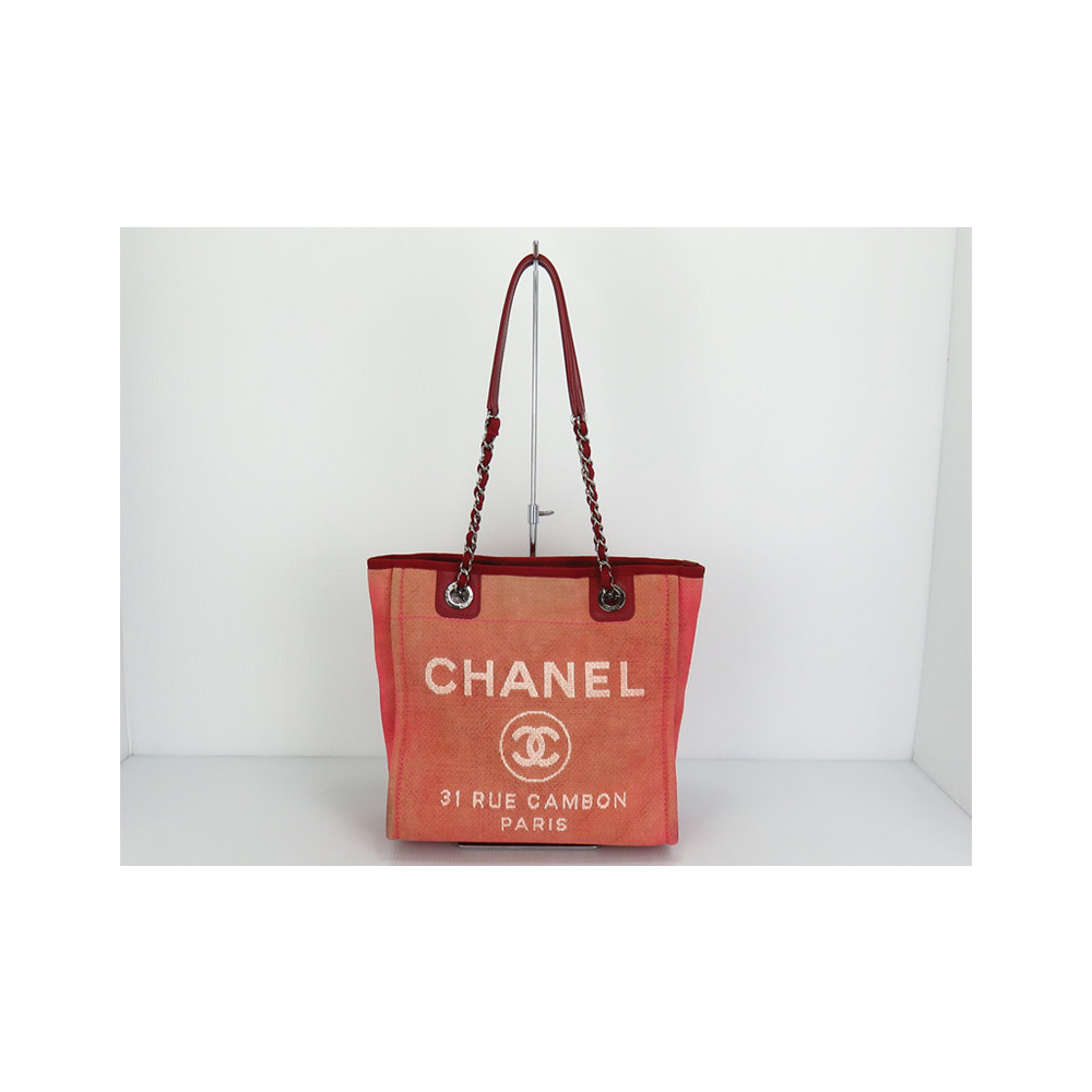 Chanel Deauville Women s Canvas Tote Bag Red 8a1582f56