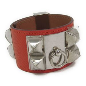 Hermes Collier De Chien Epsom Leather,Metal Bracelet Silver,Orange