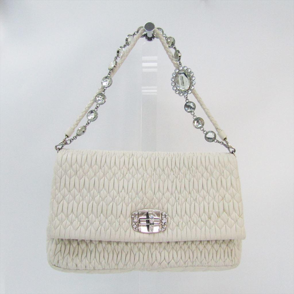 9e6261ccd118 Details about Miu Miu Matelasse Nappa Cristal RT0498 Women s Leather  Shoulder Bag Whi BF319032