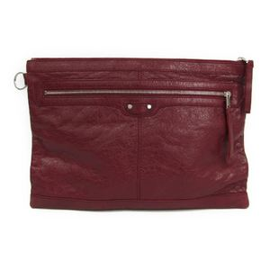 Balenciaga 273023 Women's Leather Clutch Bag Bordeaux
