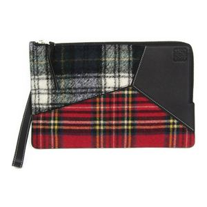 Loewe Puzzle Flat Pouch Women's Wool Leather Clutch Bag Black,Multi-color