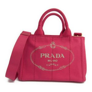 Prada Canapa B2439G Women's Canvas Tote Bag Peonia