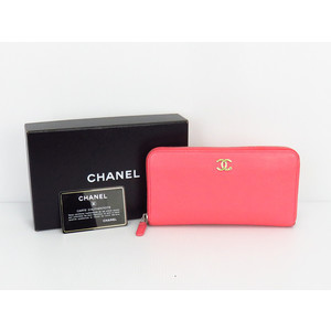 Chanel (Chanel) Coco Mark Ladies Leather Wallet (Folded) Pink Round Zipper Zippy Wallet