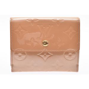 Louis Vuitton Monogram Vernis M91167 Leather Wallet (bi-fold) Beige