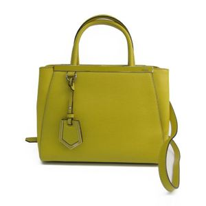 Fendi PETITE 2JOURS 8BH253 Women's Leather Handbag Yellow