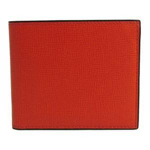 Valextra V8L04 Unisex  Embossed Calf Leather Bill Wallet (bi-fold) Orange