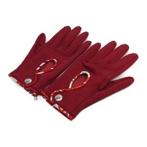 エルメス(Hermes) レディース ショート丈 手袋 ボルドー,レッド コットン,ポリアミド,シルク 7 サイズ